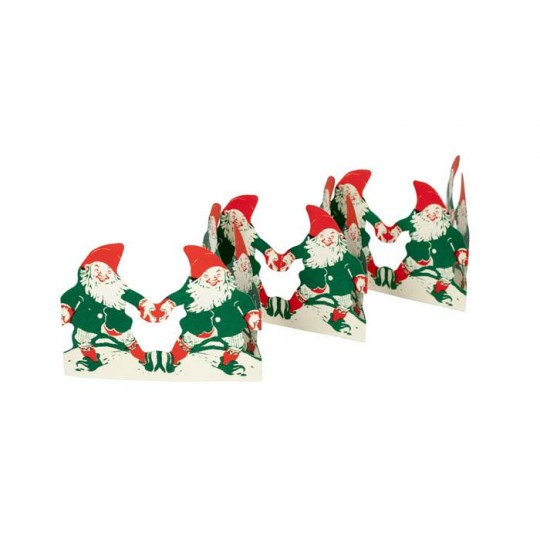 "Gnomes in Red, White and Green Folding Paper Frieze from Sweden ~ 2-3/4"" tall"