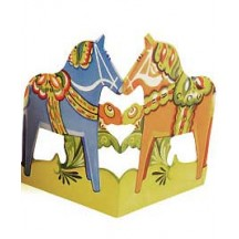 "Orange and Blue Dala Horse Folding Paper Frieze from Sweden ~ 6"" tall"