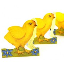 "Petite Chick with Flowers Folding Paper Frieze from Sweden ~ 3"" tall"