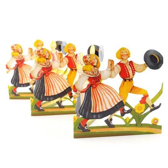 """Dancing Children Folding Paper Frieze from Sweden ~ 4-3/4"""" tall"""