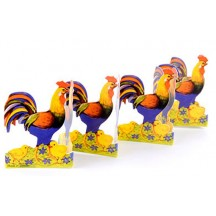 "Petite Rooster and Chicks Folding Paper Frieze from Sweden ~ 2-1/8"" tall"