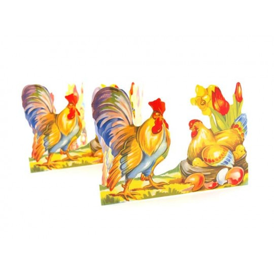"Rooster and Hen Folding Paper Frieze from Sweden ~ 5-1/2"" tall"