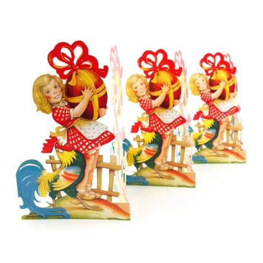 """Large Rooster and Girl Folding Paper Easter Frieze from Sweden ~ 8-3/4"""" tall"""