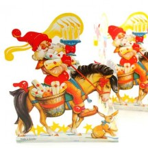 "Santa with Horse Folding Paper Frieze from Sweden ~ 6-1/2"" tall"