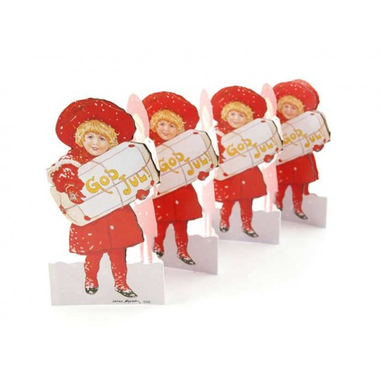 "Christmas Girl Folding Paper Frieze from Sweden ~ 5-1/2"" tall"