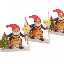 "Gnome with Tree and Candles Folding Paper Frieze from Sweden ~ 3-1/4"" tall"