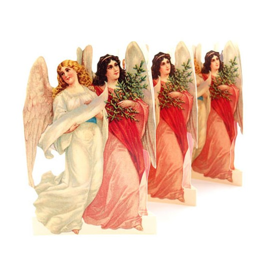 "Double Christmas Angels Folding Paper Frieze from Sweden ~ 6-5/8"" tall"