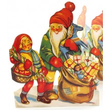 "Extra Large Gnome and Child Folding Paper Frieze from Sweden ~ 9-1/4"" tall"
