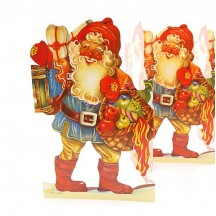 "Santa with Fruit Basket Folding Paper Frieze from Sweden ~ 7-1/2"" tall"