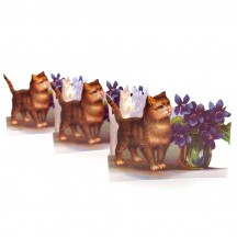 "Cat with Violets Folding Paper Frieze from Sweden ~ 3-1/2"" tall"