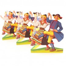 "Dancing Midsommar Children Folding Paper Frieze from Sweden ~ 4-3/4"" tall"