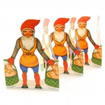 "Gnome with Pigs in Baskets Folding Paper Frieze from Sweden ~ 6"" tall"