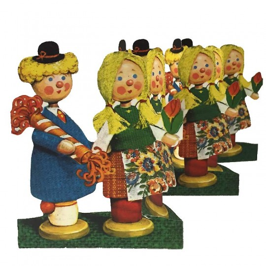 "Vintage Peg Children Folding Paper Frieze from Sweden ~ 4-3/4"" tall"