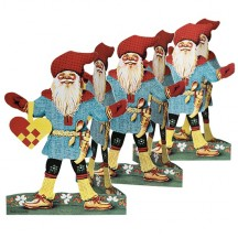 """Tomte with Woven Swedish Heart Folding Paper Frieze from Sweden ~ 5-1/2"""" tall"""