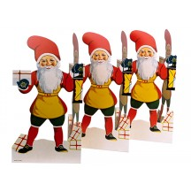 """Jumbo XL Tomte Gnome with Lantern and Gift Folding Paper Frieze from Sweden ~ 12"""" tall"""