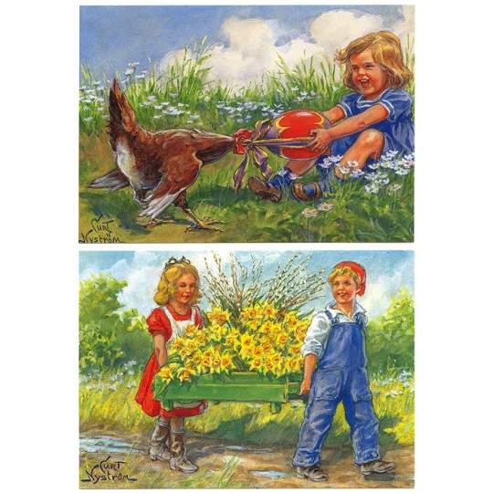 Pair of Large Easter Children Postcards by Curt Nystrom ~ Sweden