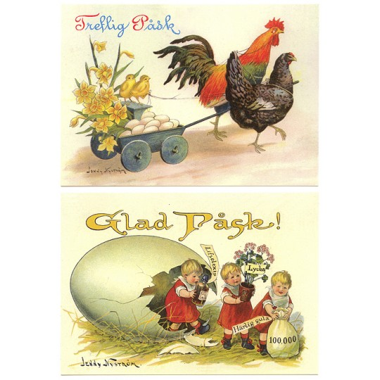 Pair of Large Easter Postcards by Jenny Nystrom ~ Sweden