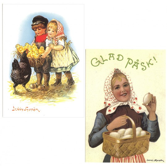 Pair of Large Easter Children Postcards by Jenny Nystrom ~ Sweden
