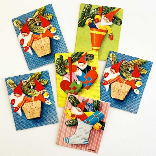 6 Assorted Swedish Tomte Gift Tags ~ Old Stock Sweden