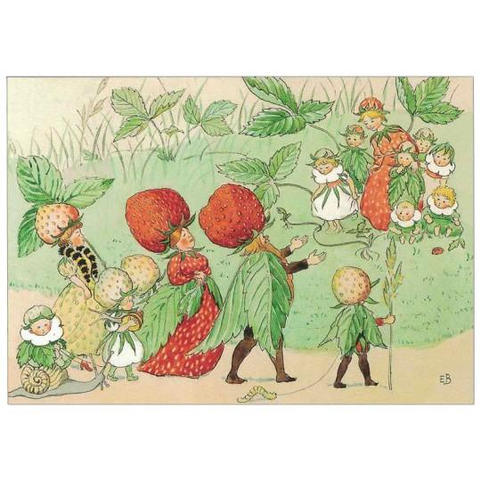 Strawberry Fairy Parade Postcard ~ Sweden