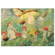 Tomte Gathering Mushrooms Postcard ~ Sweden
