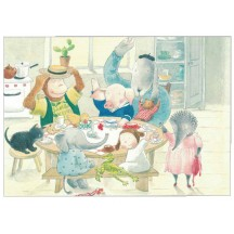 Animal Tea Party Postcard ~ Sweden
