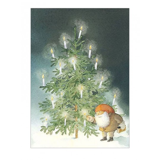 Tomte Christmas Tree Postcard ~ Sweden