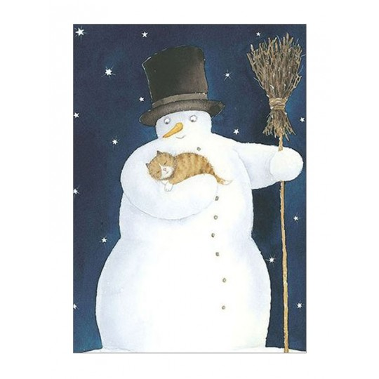 Snowman with Cat Christmas Postcard ~ Sweden