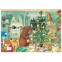 Beaver Family Christmas Postcard ~ Sweden