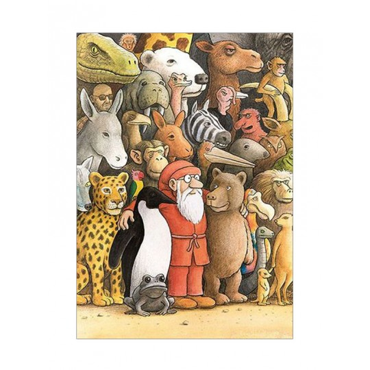 Santa with Animal Friends Christmas Postcard ~ Sweden