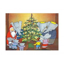 Babar with Santa Christmas Postcard ~ Sweden