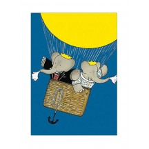 Babar with Celeste Hot Air Balloon Postcard ~ Sweden