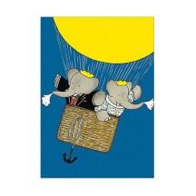 Babar with Celeste Hot Air Balloon Postcard ~ Sweden