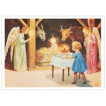 Christmas in Manger Christmas Postcard ~ Sweden