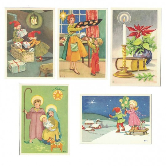 5 Vintage Miniature Christmas Postcards ~ Sweden