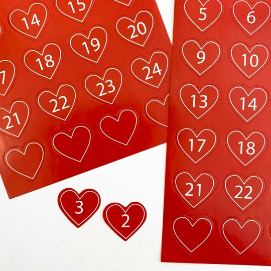 Red Heart Numbered Advent Stickers ~ Sweden