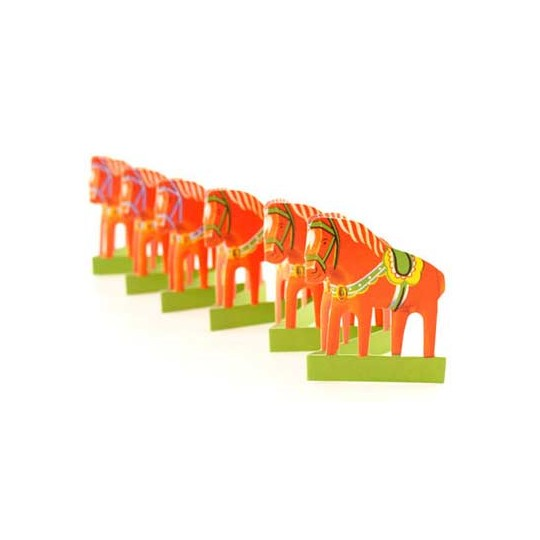 "Petite Orange Dala Horse Folding Paper Frieze from Sweden ~ 2-1/2"" tall"