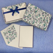 Italian Stationery Folded Card Set ~ 10 Cards + 10 envelopes ~ Rossi Blue Florentine with Gold Highlights