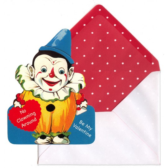 Set of Two Clown Valentine Cards