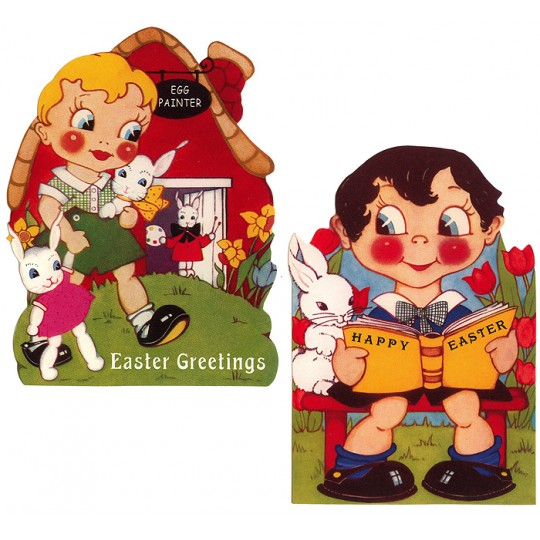 Pair of Easter Children Flat Easter Cards