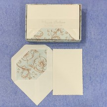 Italian Stationery Flat Card Set ~ 10 Cards + 10 envelopes ~ Rossi Light Blue Florentine