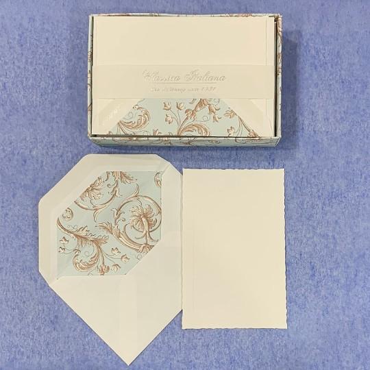Italian Stationery Flat Card Set ~ 10 Cards + 10 envelopes ~ Rossi Light Blue Florentine