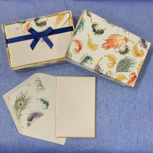 Italian Stationery Folded Card Set ~ 10 Cards + 10 envelopes ~ Rossi Mixed Feathers with Gold Highlights