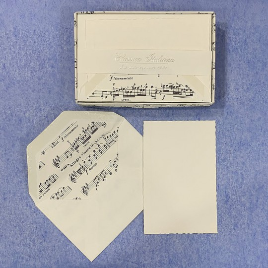 Italian Stationery Flat Card Set ~ 10 Cards + 10 envelopes ~ Rossi Music Script