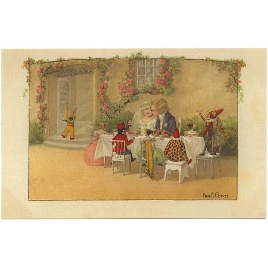 Pauli Ebner Bride and Groom with Toys Wedding Postcard ~ Germany