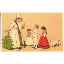 Children with Santa and White Dog Christmas Postcard ~ Germany
