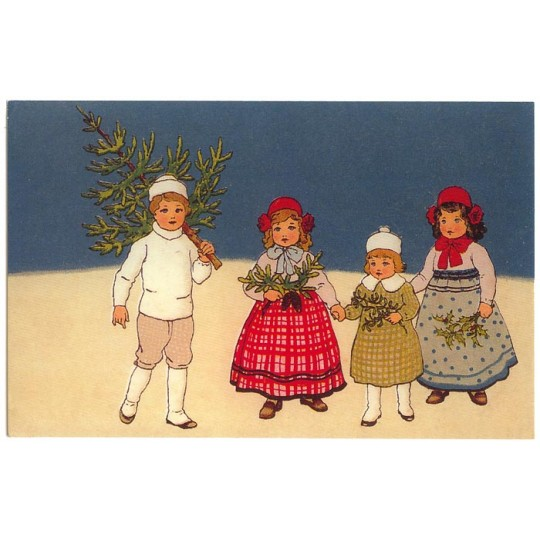 Children with Tree Christmas Postcard ~ Germany