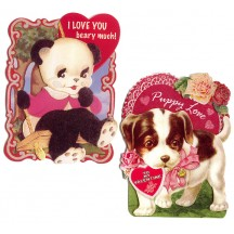 Pair of Adorable Puppy and Panda Dimensional and Glittered Valentine Cards