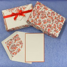 Italian Stationery Folded Card Set ~ 10 Cards + 10 envelopes ~ Rossi Red Florentine with Gold Highlights