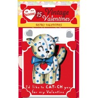 """Pack of 15 Old Fashioned Valentines """"Retro Valentines"""" featuring Animals and Children ~ USA"""
